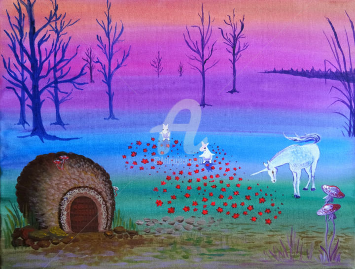 """Painting titled """"I want to be here"""" by Valeria Belogurova, Original Art, Acrylic"""