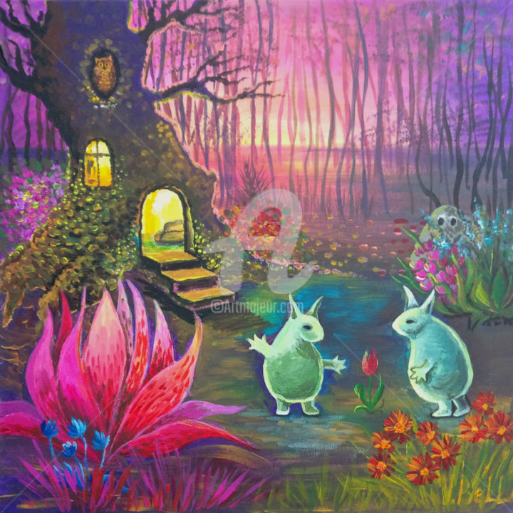 """Painting titled """"Magical Forest"""" by Valeria Belogurova, Original Art, Acrylic"""