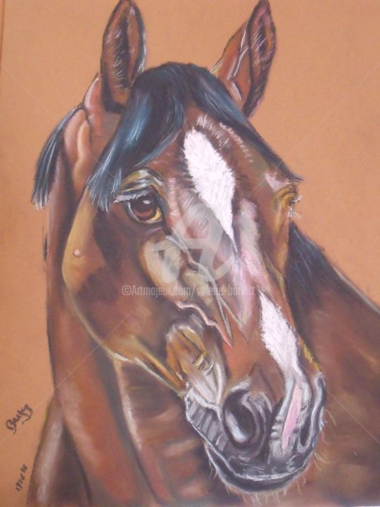 """Drawing titled """"Cheval"""" by Valérie Barrett, Original Art, Pastel"""