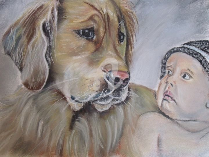 """Drawing titled """"tendresse animale"""" by Valérie Barrett, Original Art, Pastel"""