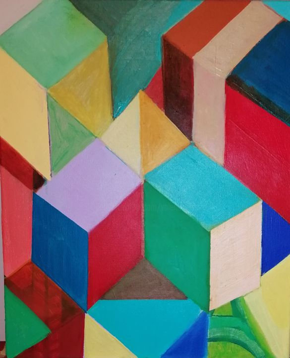 La Pyramide - Painting,  23.6x19.7 in, ©2919 by Valérie Blum (Valery) -                                                                                                                                                                                                                          Abstract, abstract-570, Architecture, La Pyramide