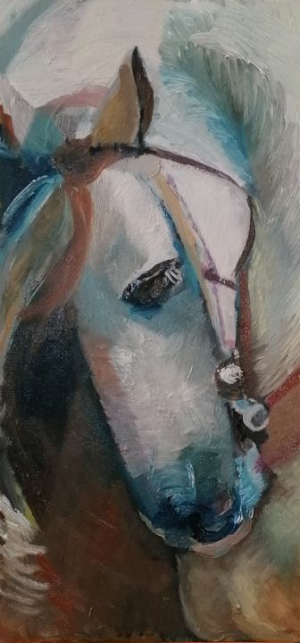 Cheval blanc - Painting,  23.6x11.8 in ©2019 by Valery -                                                        Figurative Art, Animals, Horses, Le cheval blanc fougueux