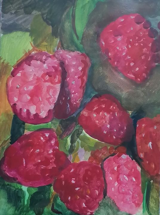 Les Framboises - Dessin,  16,1x12,2 in, ©2020 par Valérie Blum (Valery) -                                                                                                                                                                                                                                                                      Figurative, figurative-594, artwork_cat.Colors, Nature morte, Les Framboises