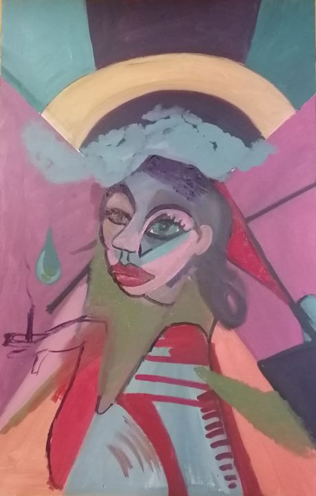 Les yeux menthe à l'eau - Painting,  47.2x28.7 in, ©2020 by Valérie Blum (Valery) -                                                                                                                                                                                                                                                                                                                                                                                                                                                                                                                                              Expressionism, expressionism-591, Abstract Art, Culture, Women, Geometric, People, Les yeux menthe à l'eau, Les yeux verts, Le soleil au dessus, Peinture jazzy