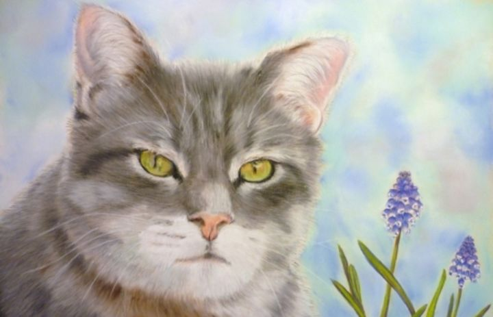 Chiffon - Pastel - Painting,  40x30 cm ©2012 by Valérie Jouffroy Ricotta -                                                            Illustration, Paper, Animals, chat, illustration, pastel