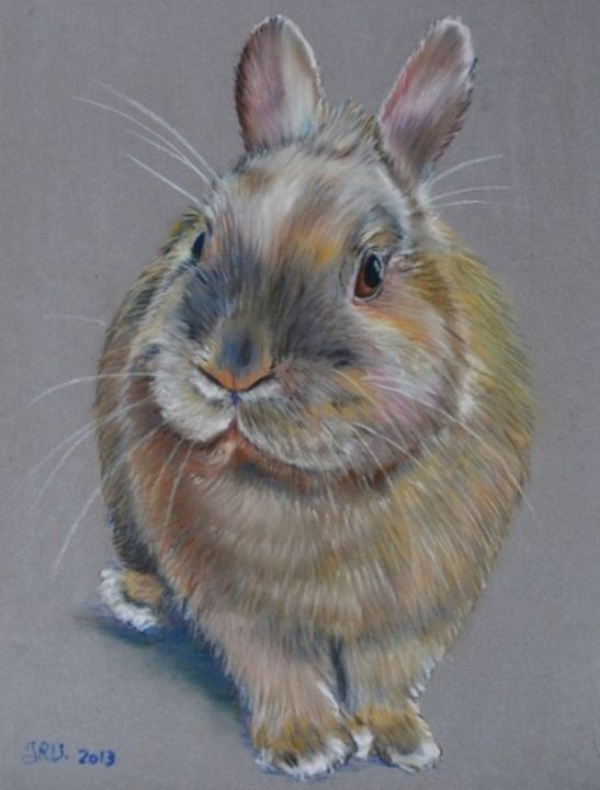 Canel le lapin - Pastel - Painting,  24x18 cm ©2013 by Valérie Jouffroy Ricotta -                                            Illustration, Animals, lapin, illustration, pastel