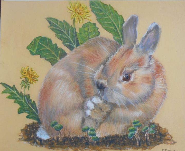 Pissenlit le lapin - Pastel - Painting,  24x18 cm ©2013 by Valérie Jouffroy Ricotta -                                                            Illustration, Paper, Animals, lapin, animaux, animalier, pissenlit, illustration