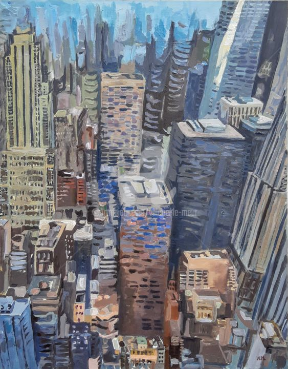 Crazy New-York - Painting,  36.2x28.7x1 in, ©2019 by valérie LE MEUR (VLM) -                                                                                                                                                                                                                                                                                                                                                                                                                                                                                                                                                                                          Expressionism, expressionism-591, Architecture, Cityscape, Cities, New-York, Manhattan, Ville, Gratte-ciel, immeubles, urbain, USA