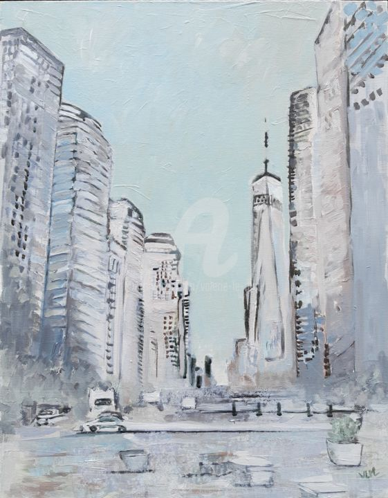 White New-York - Painting,  24x19.7x0.8 in, ©2020 by valérie LE MEUR (VLM) -                                                                                                                                                                                                                                                                                                                                                                                                                                                                                                                                                                                                                                      Impressionism, impressionism-603, Architecture, Colors, Cityscape, Seasons, Cities, New-York, Manhattan, gratte-ciel, immeubles, amérique, voyage
