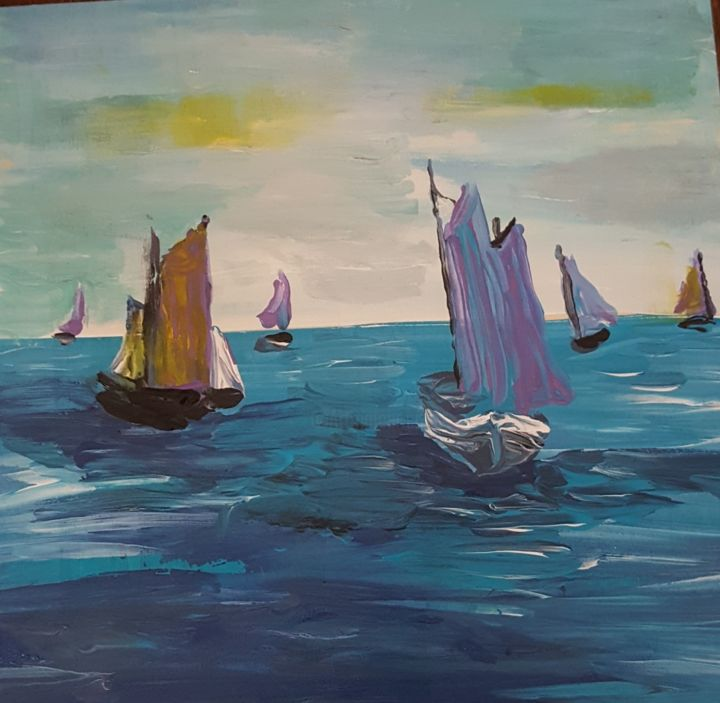 Sailboats in Harbor - Painting,  8x10x0.5 in ©2017 by Valerie Leri -                                                        Abstract Expressionism, Canvas, Sailboat