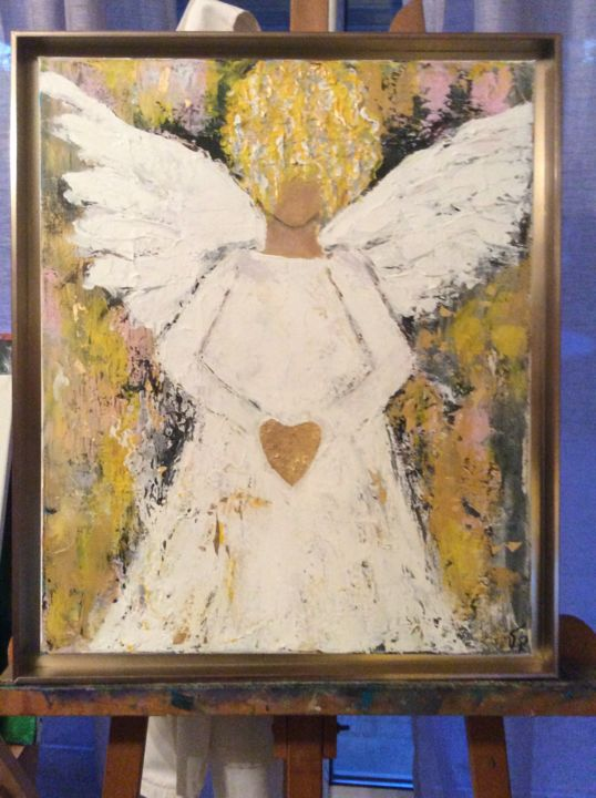 mon ange... - Painting,  55x45 cm ©2019 by valerie plansson -