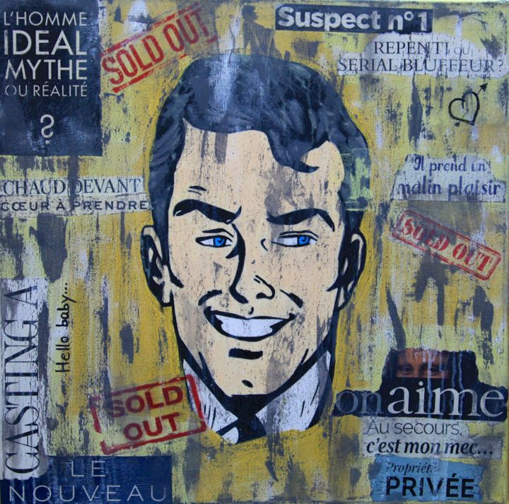 Sold Out - Collages,  19.7x19.7x0.6 in, ©2018 by VALpapers -                                                                                                                                                                                                                      Pop Art, pop-art-615, pop art, collages sur toile
