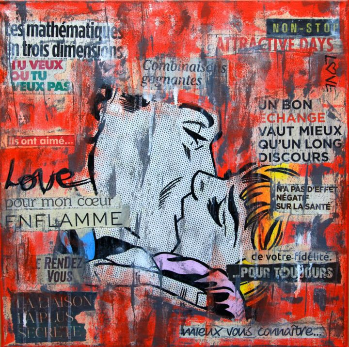 Love Affair - Collages,  19.7x19.7x0.6 in, ©2018 by VALpapers -                                                                                                                                                                                                                      Pop Art, pop-art-615, Pop Art, collages sur toile