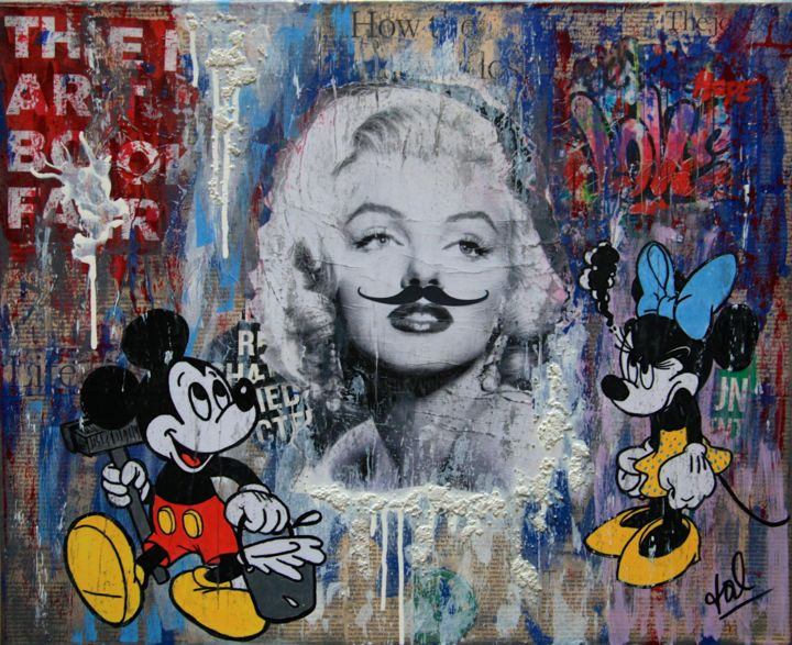 The Joke - Collages,  19.7x24x0.6 in, ©2019 by VALpapers -                                                                                                                                                                                                                                                                                                                                                                                                                                                      Street Art, street-art-624, Pop Culture / celebrity, Marilyn, Mickey, Minnie, Street Art, Pop Art, Collages