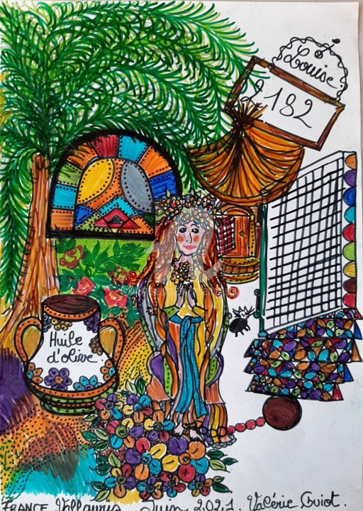 """Drawing titled """"Louise"""" by Valerie Guiot, Original Art, Marker"""