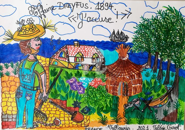 """Drawing titled """"Capitaine Alfred Dr…"""" by Valerie Guiot, Original Art, Marker"""