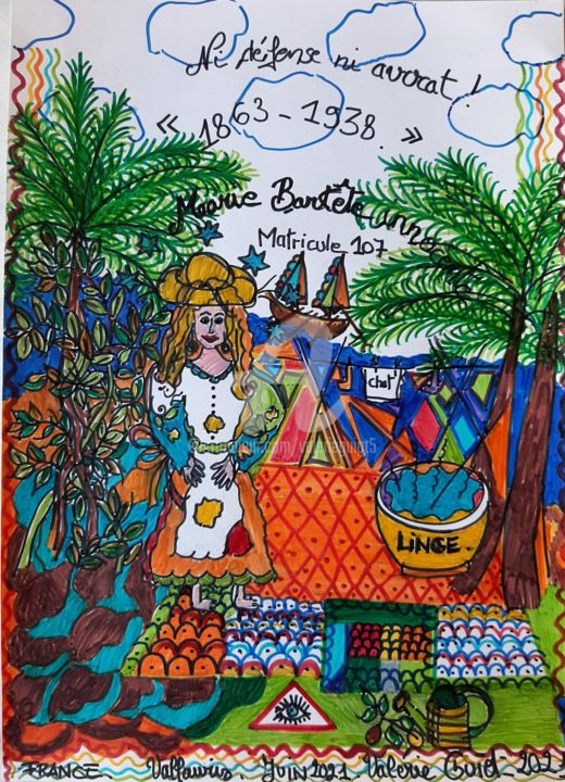 """Drawing titled """"Marie"""" by Valerie Guiot, Original Art, Marker"""