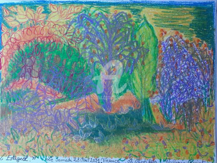 """Drawing titled """"Le jardin musical."""" by Valerie Guiot, Original Art, Pastel"""