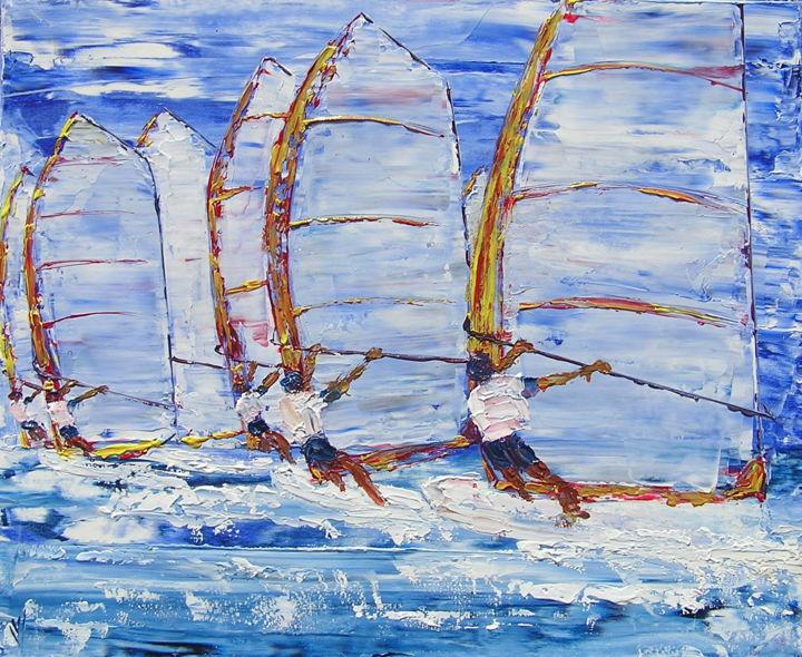 WINDSURF, REGATE - Painting,  73x60 cm ©2007 by valerie jouve -                                                            Contemporary painting, Canvas, Sailboat, voile, planche a voile, windsurf, course, regate, race, regatta, seascape, windsurfing, tableau, marine, painting