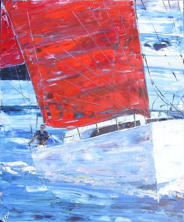 EN SOLITAIRE - Painting,  73x60 cm ©2008 by valerie jouve -                                                            Contemporary painting, Canvas, Sailboat, marine, mer, bateau, voilier, course, régate, regatta, sailboat, sailing, race, seascape