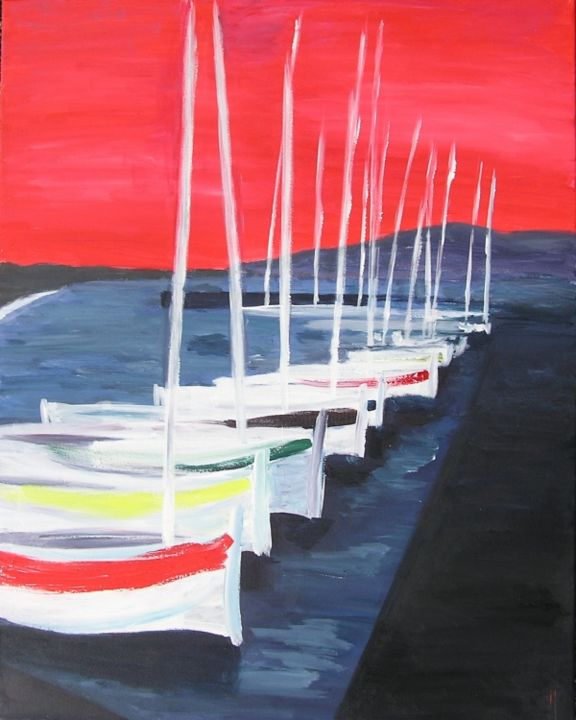 POINTUS - Painting,  92x73 cm ©2012 by valerie jouve -                                                            Contemporary painting, Canvas, Boat, PEINTURE ACRYLIQUE SUR TOILE REPRESENTANT DES POINTUS 5(BARQUES DE PECHE) AU PORT