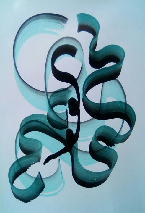 calligrahie 5 - Painting,  15.4x10.2x0.4 in, ©2019 by Valérie Thévenot -                                                                                                                                                                          Calligraphy, calligraphy-210, Spirituality