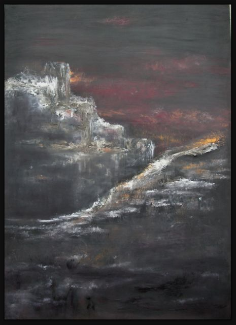 Quéribus - Painting,  47.2x29.5 in, ©2006 by Valérie Vidal -