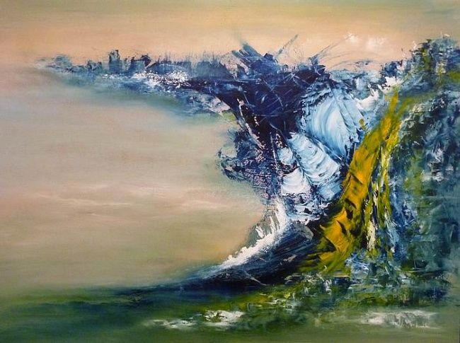 La vague - Painting,  19.7x27.6 in, ©2011 by Valérie Vidal -