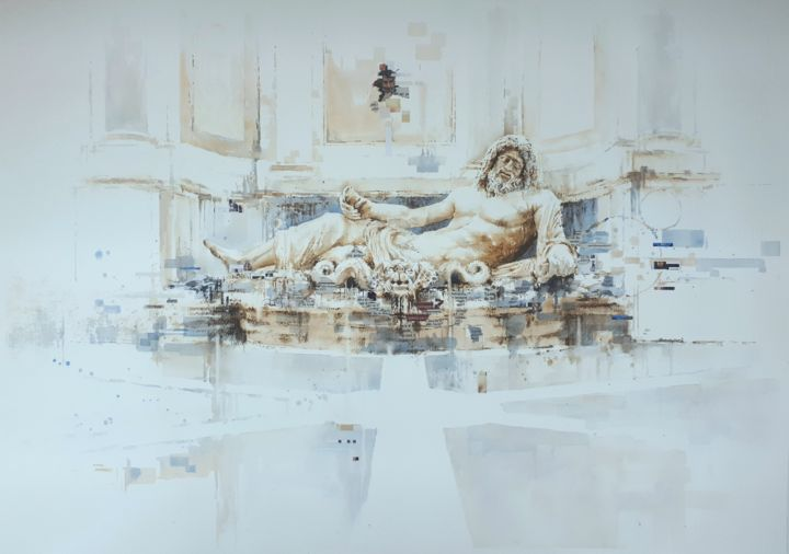 """Painting titled """"""""Marforio"""""""" by Valerio Scarapazzi, Original Art, Watercolor"""