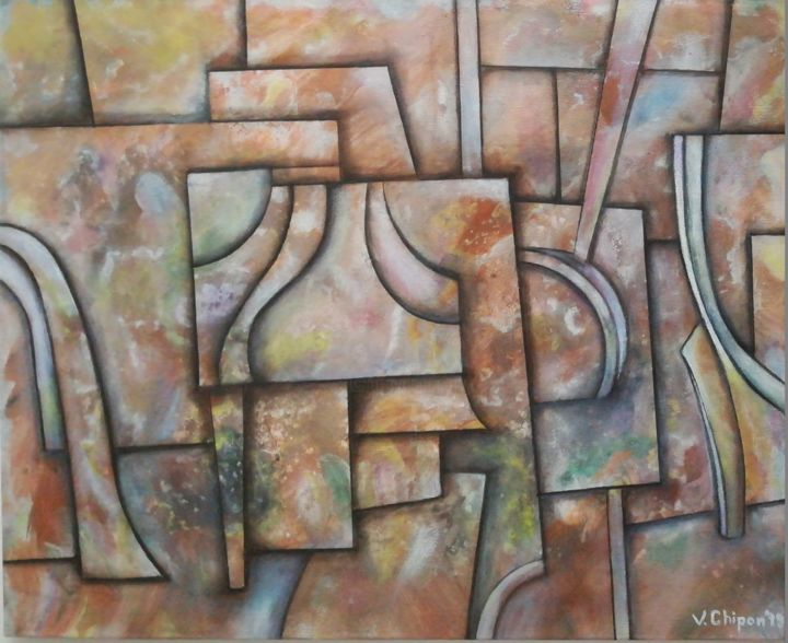 Plans - Painting,  40x50x0.3 cm ©2019 by valentinos -                                        Abstract Art, Geometric