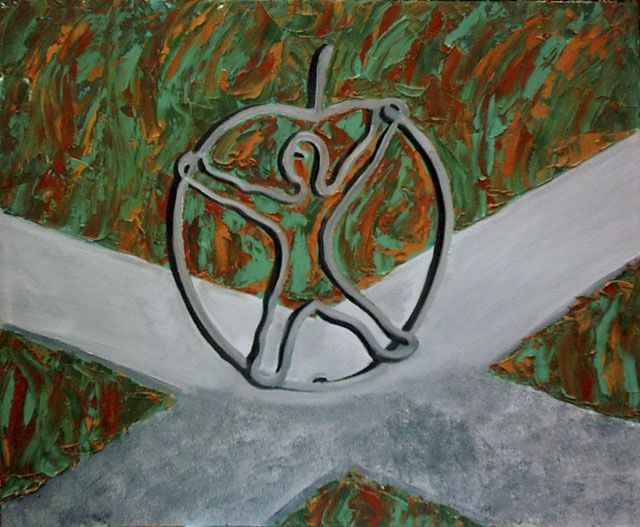 Яблочко (мужчина) - Apple ( man) - Painting,  71x61 cm ©2008 by Валерий Валюс -                        Abstract Expressionism