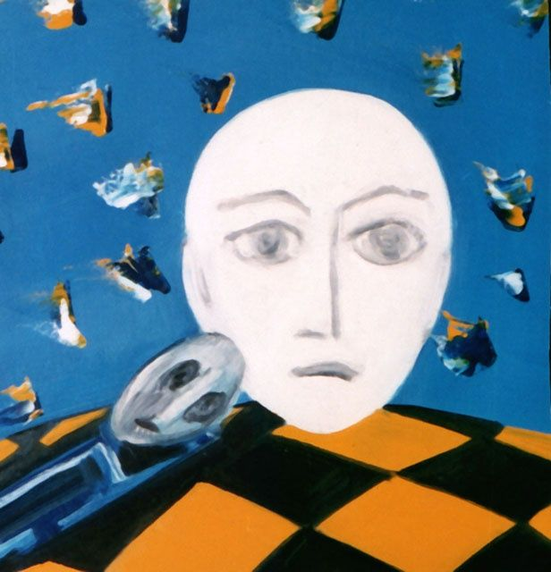 Яйцо на шахматной доске - Egg on a chessboard - Painting,  55x52 cm ©1994 by Валерий Валюс -                        Abstract Expressionism