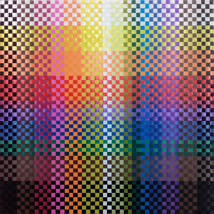 Composition 4-22 - Textile Art,  31.5x31.5x0.8 in, ©2017 by Valka Parusheva -                                                                                                                                                                                                                                                                                                                                                                                                                                                                                                                                                                                                                                      Geometric, geometric-572, Abstract Art, multicolor, contemporary, geometric, pixel, weaving, wallart, textille, modern, colorful, opart