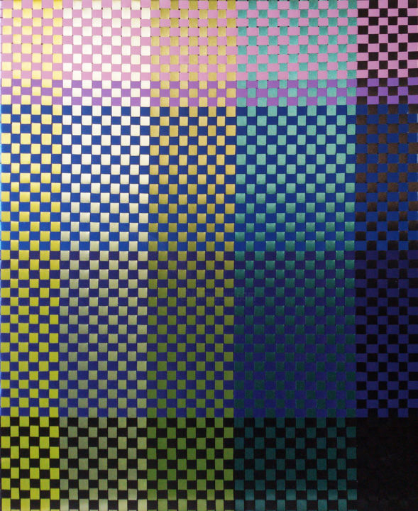 Composition 2-27 - Textile Art,  21.7x17.7x0.8 in, ©2017 by Valka Parusheva -                                                                                                                                                                                                                                                                                                                                                                                                                                                                                                                                              Geometric, geometric-572, Abstract Art, contemporary, modern, wallart, pattern, colorful, opart, geometric, weaving