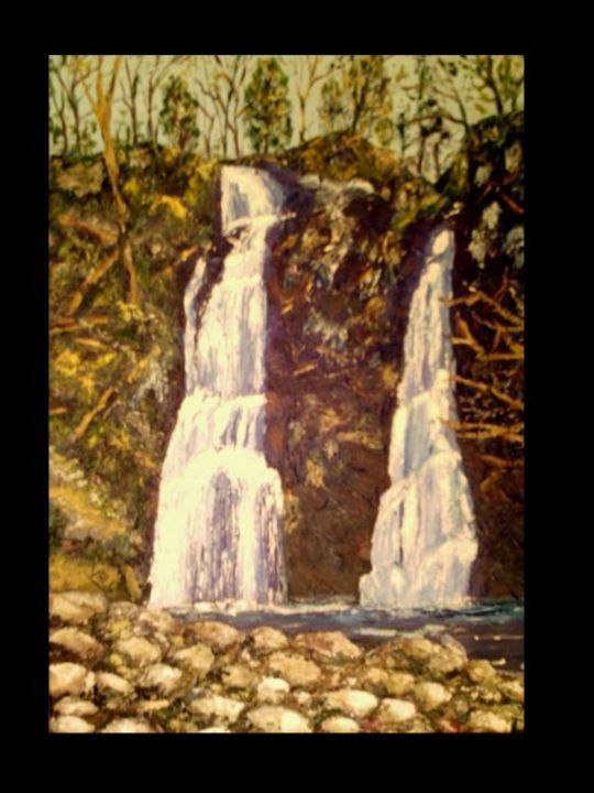 Les cascades - Painting,  18.1x13 in, ©2005 by vall -