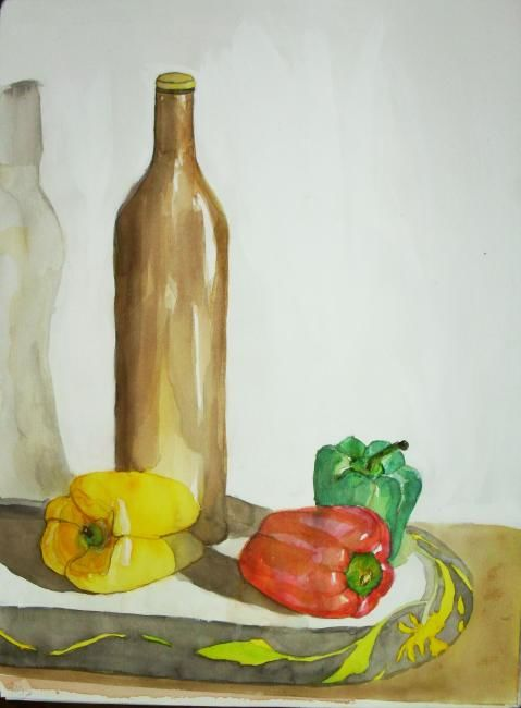 Painting ©2011 by vall -  Painting, Contemporary, nature morte, des bouteille, legumes, peinture aquarelle