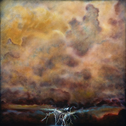 Thunder, Lightning and Rain, - Painting,  50x50 in ©2007 by Linda Vallejo -