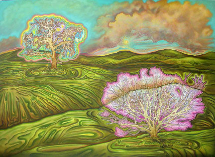 Electric Oaks on the Hillside - Painting,  54x74 in ©2007 by Linda Vallejo -            Electric Oaks on the Hillside