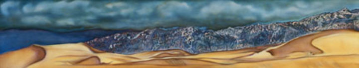 Death Valley Stovepipe Dunes - Painting,  16x64 in ©2006 by Linda Vallejo -            Death Valley Stovepipe Dunes