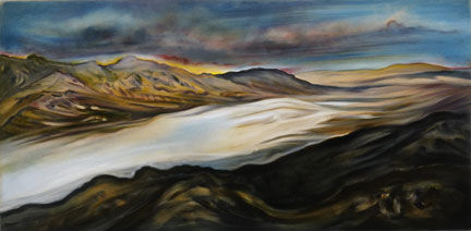 Death Valley, Salt Flats - Painting,  28x52 in ©2004 by Linda Vallejo -
