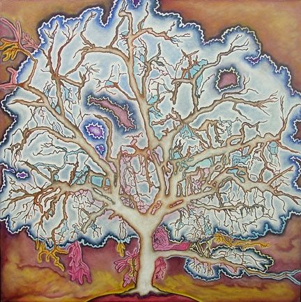Electric Oak, Spring Equinox - Painting,  34x34 in ©2007 by Linda Vallejo -