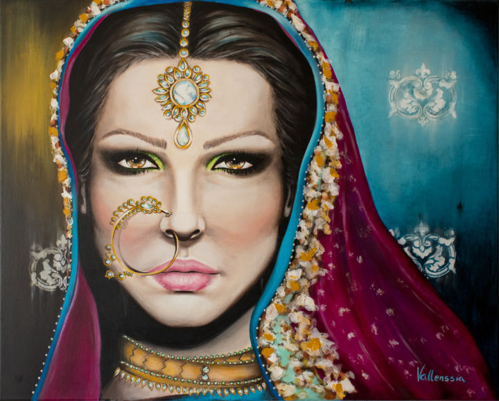 """Painting titled """"Indian Bride"""" by Vallenssia, Original Art, Acrylic"""