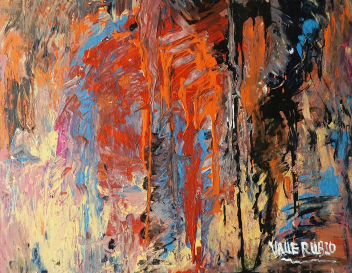 FUEGO - Painting,  23.6x28.7x0.8 in, ©2018 by VALLE RUBIO -                                                                                                                                                                                                                                                                                                                                                                                                          Abstract, abstract-570, Abstract Art, fuego, hermoso, colorista, especial, original
