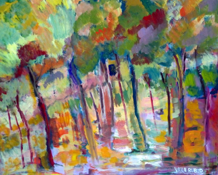 BOSQUE - Painting,  39.4x39.4x0.8 in, ©2019 by VALLE RUBIO -