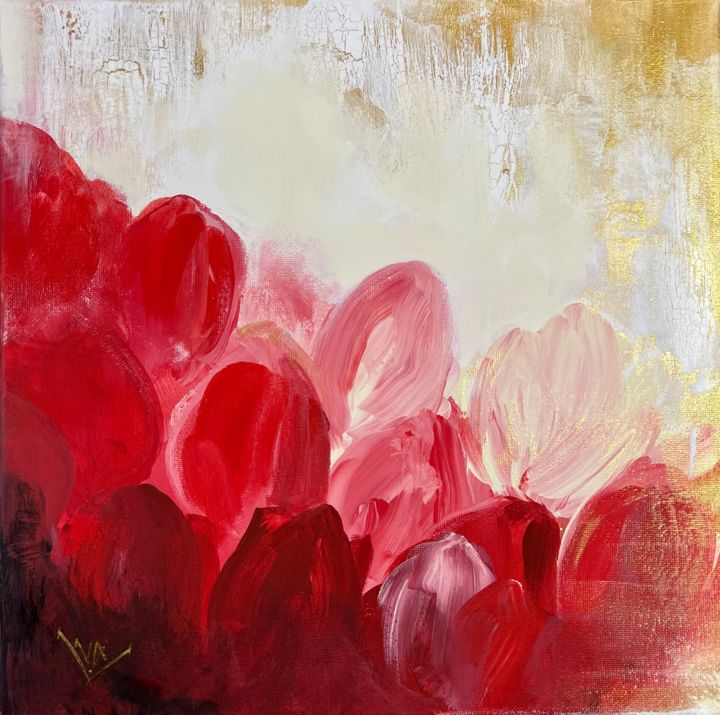 """Painting titled """"""""Red love"""""""" by Valentina Fedoseeva, Original Art, Acrylic"""