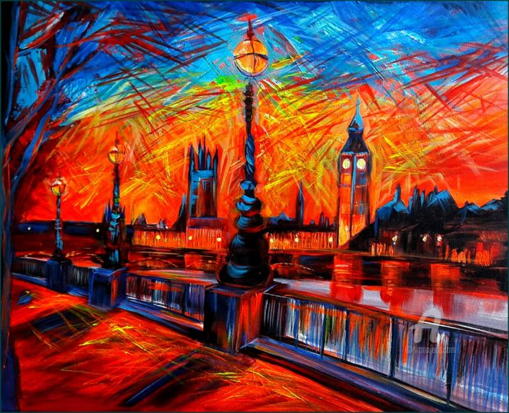 """Painting titled """"Good Evening London"""" by Ibolya Való, Original Art, Acrylic Mounted on Stretcher frame"""