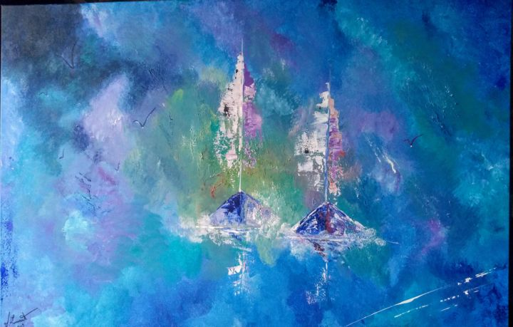 marine bleue - Painting,  29.5x47.2x0.8 in, ©19 by Valérie Lavrut -                                                                                                                                                                          Abstract, abstract-570, Boat