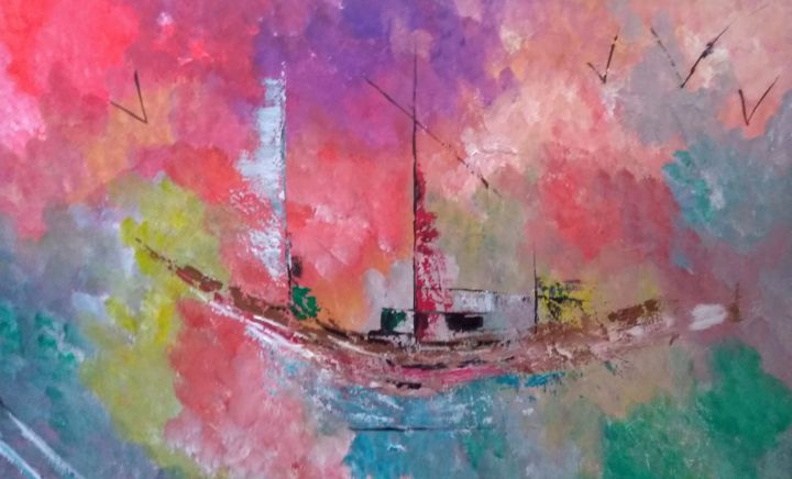 Marine - Painting,  29.5x45.3 in, ©19 by Valérie Lavrut -                                                                                                                                                                          Abstract, abstract-570, Boat