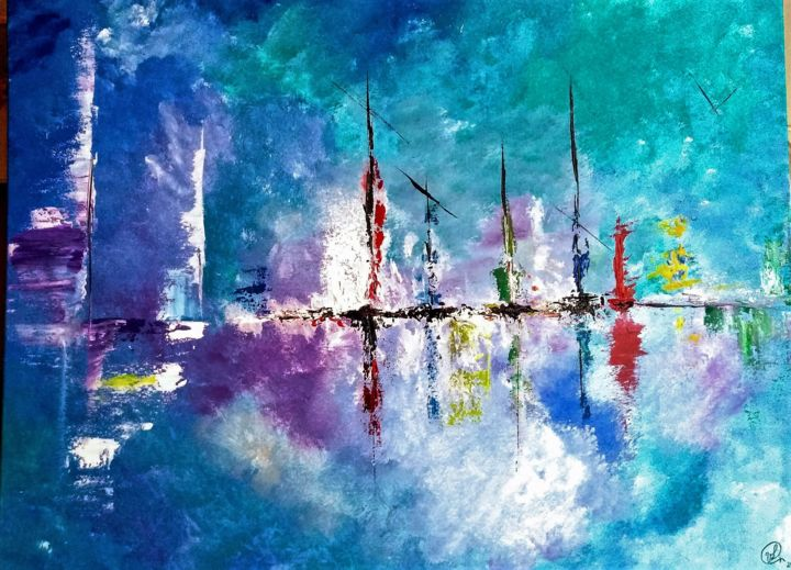 marine - Painting,  23.6x31.5 in, ©2019 by Valérie Lavrut -                                                                                                                                                                          Abstract, abstract-570, Boat