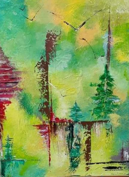 Jura - Painting,  31.5x23.6 in, ©18 by Valérie Lavrut -                                                                                                                                                                                                                                                                      Abstract, abstract-570, Nature, abstrait, nature
